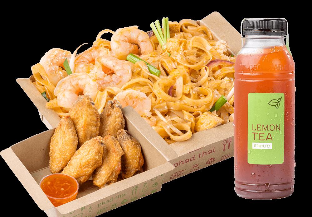 Big Meal 3 : Pad Thai Shrimp + Snacks + Drinks